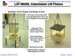 lat mgse calorimeter lift fixture