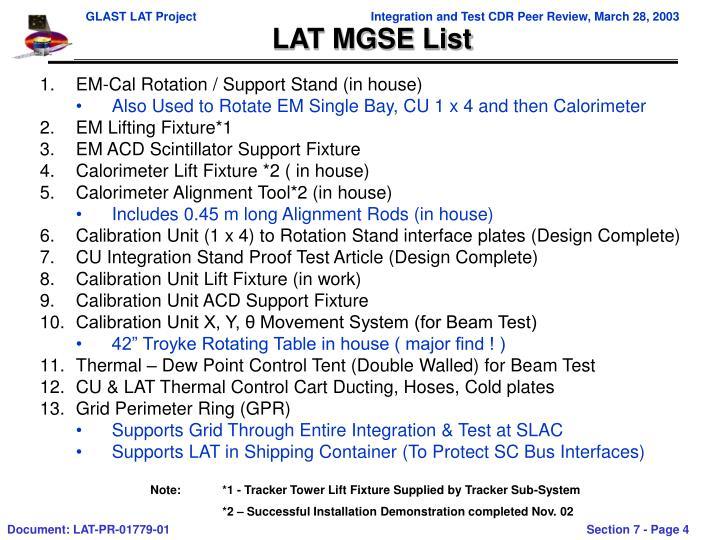 LAT MGSE List