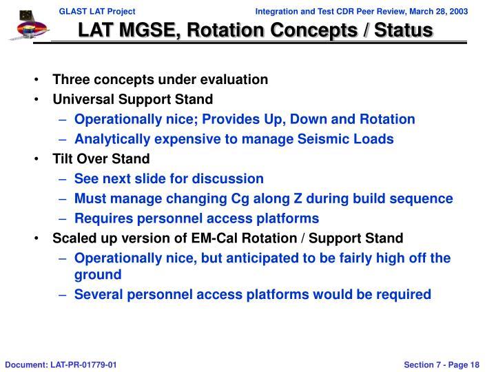 LAT MGSE, Rotation Concepts / Status