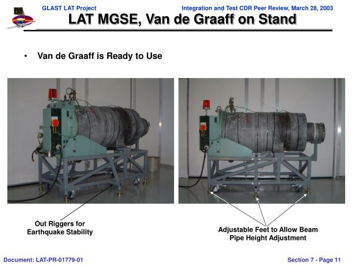 LAT MGSE, Van de Graaff on Stand