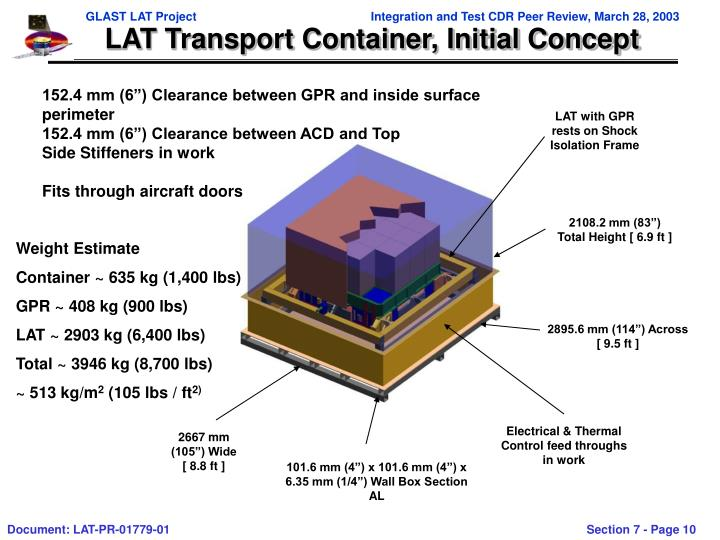 LAT Transport Container, Initial Concept