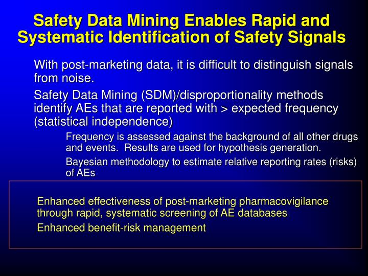 Safety Data Mining Enables Rapid and Systematic Identification of Safety Signals