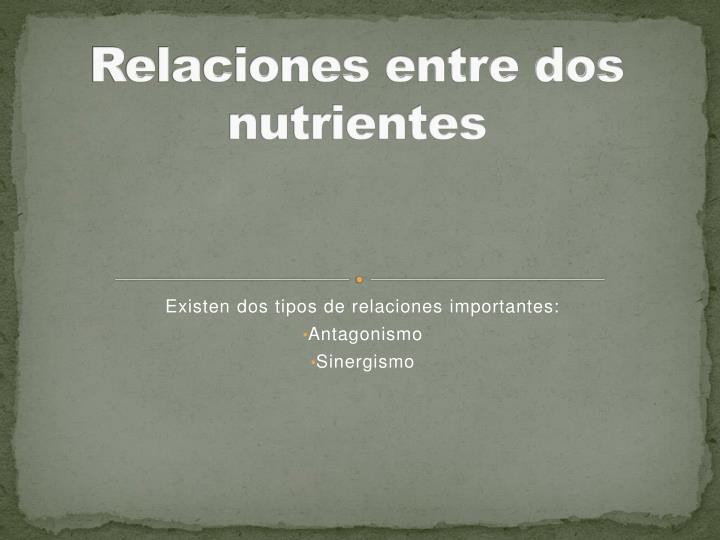 Relaciones entre dos nutrientes