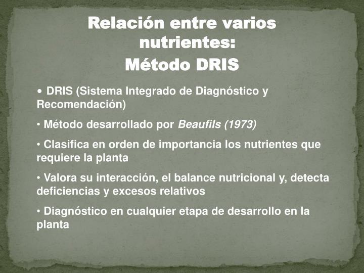 Relación entre varios nutrientes: