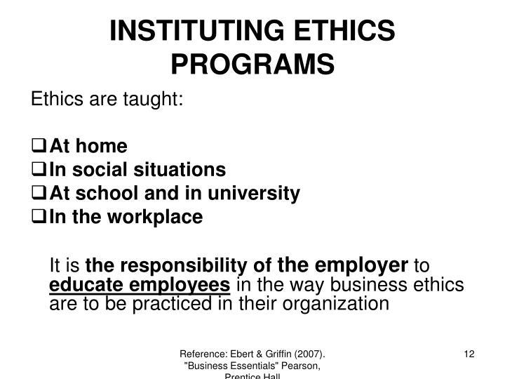INSTITUTING ETHICS PROGRAMS