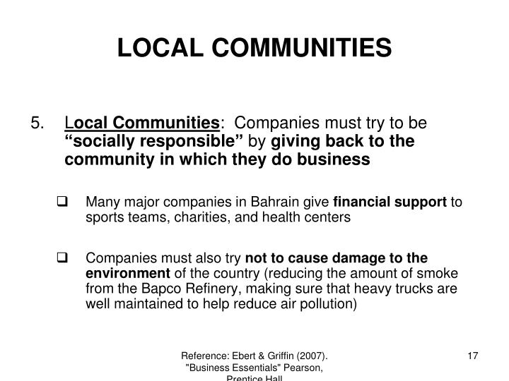 LOCAL COMMUNITIES