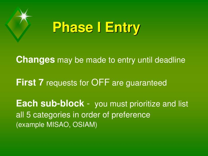Phase I Entry