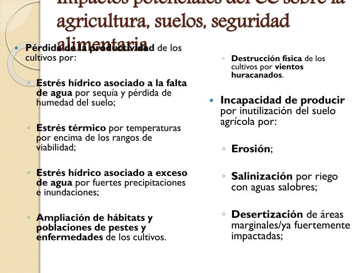 Impactos potenciales del CC sobre la agricultura, suelos, seguridad alimentaria