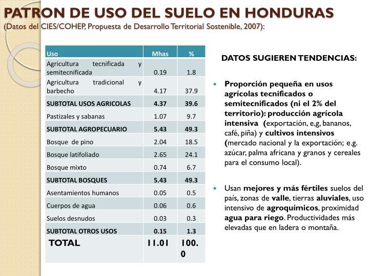 PATRON DE USO DEL SUELO EN HONDURAS