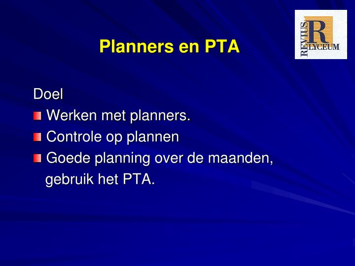 Planners en PTA