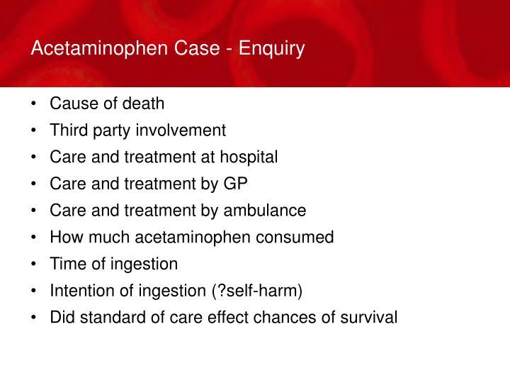 Acetaminophen Case - Enquiry