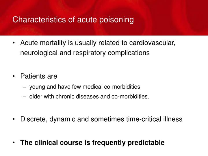 Characteristics of acute poisoning