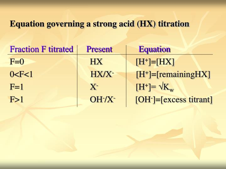 Equation governing a strong acid (HX) titration