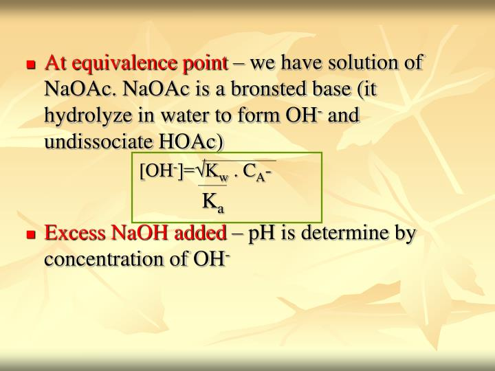 At equivalence point