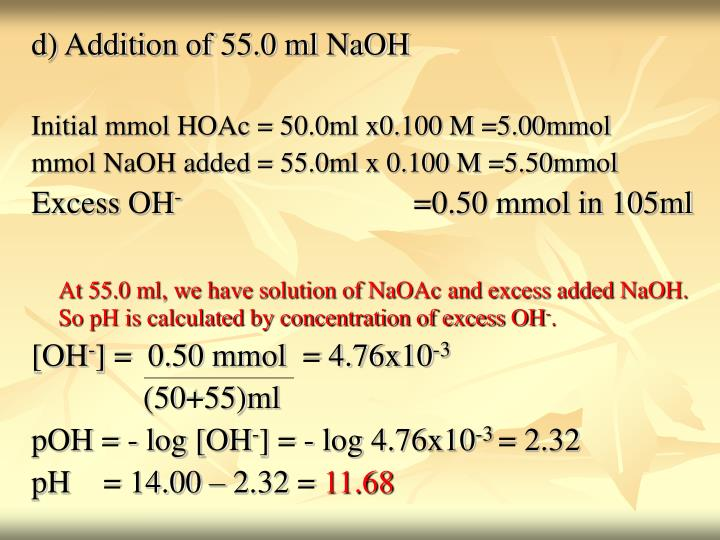 d) Addition of 55.0 ml NaOH