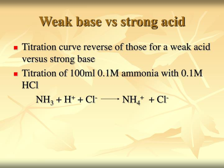 Weak base vs strong acid