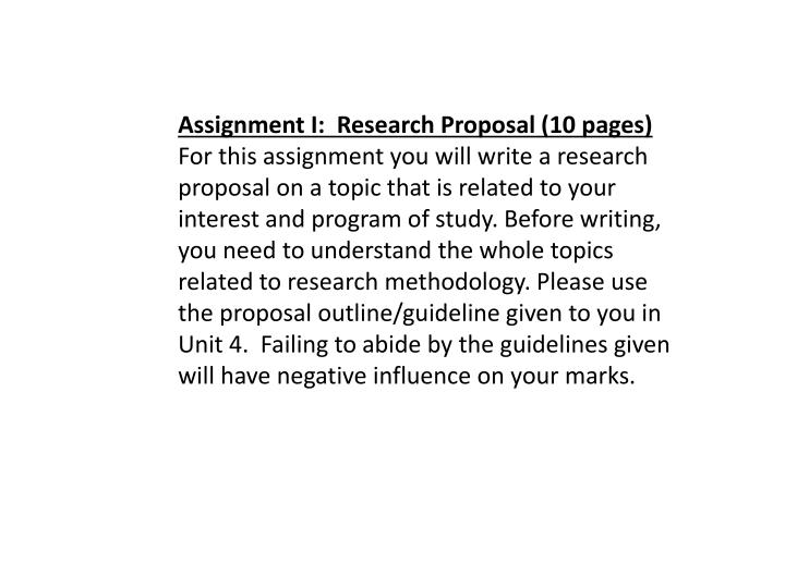 Assignment I:  Research Proposal (10 pages)