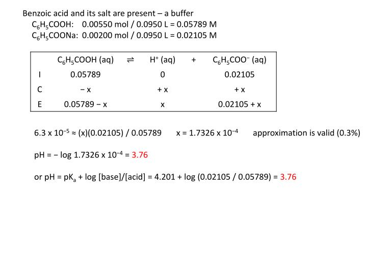 Benzoic acid and its salt are present – a buffer