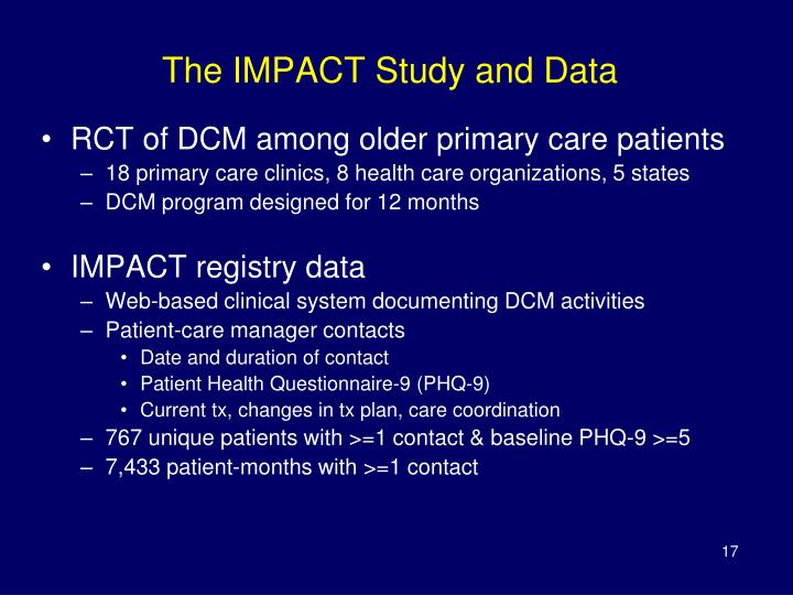 The IMPACT Study and Data