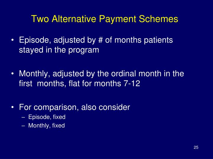 Two Alternative Payment Schemes