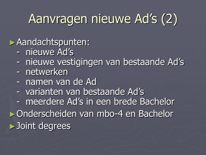 Aanvragen nieuwe Ad's (2)