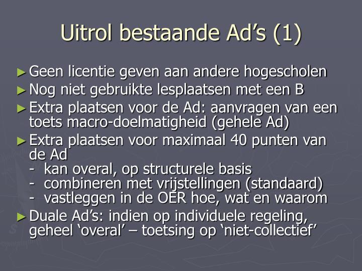 Uitrol bestaande Ad's (1)