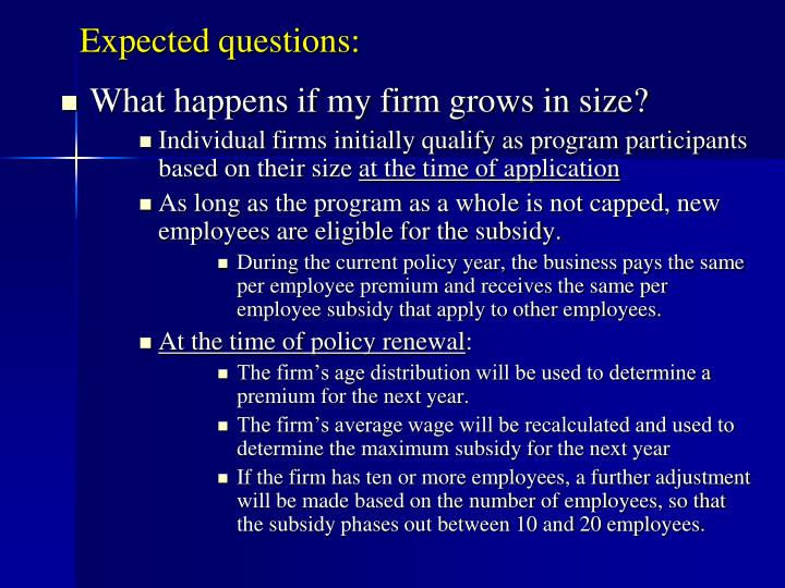 Expected questions: