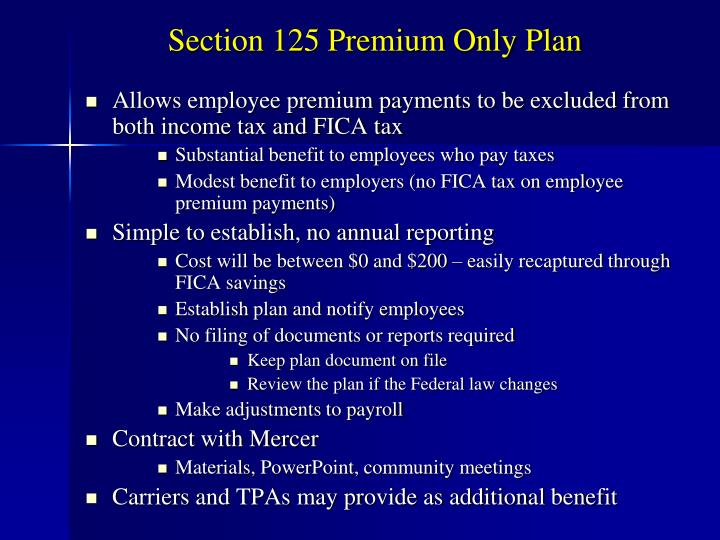 Section 125 Premium Only Plan