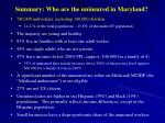 summary who are the uninsured in maryland