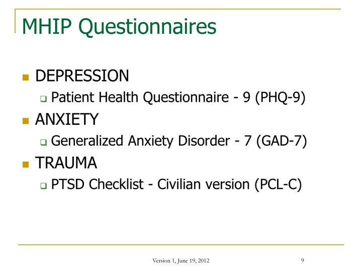 MHIP Questionnaires
