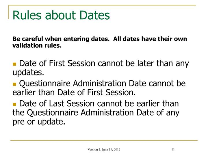 Rules about Dates