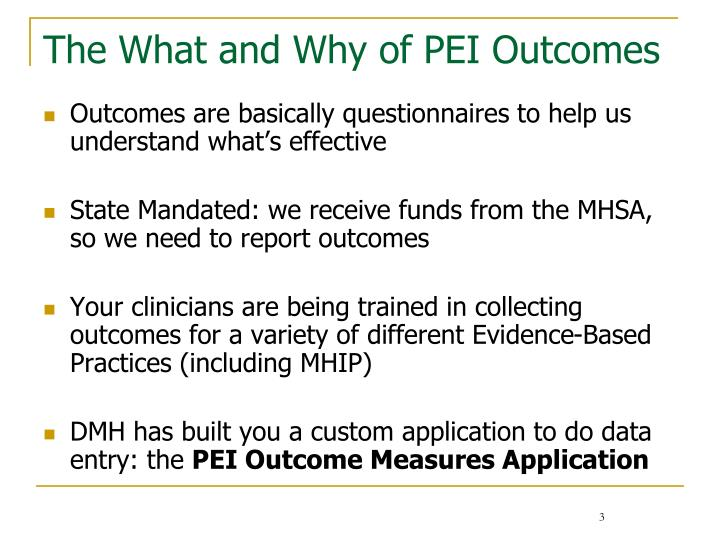 The what and why of pei outcomes