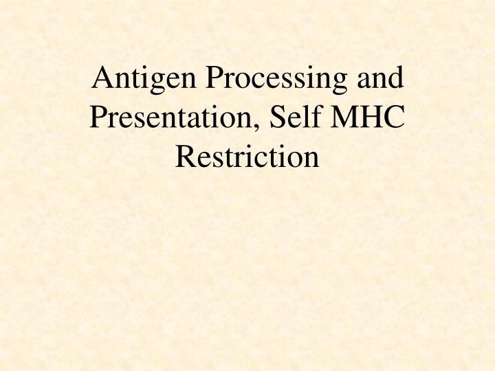 Antigen processing and presentation self mhc restriction