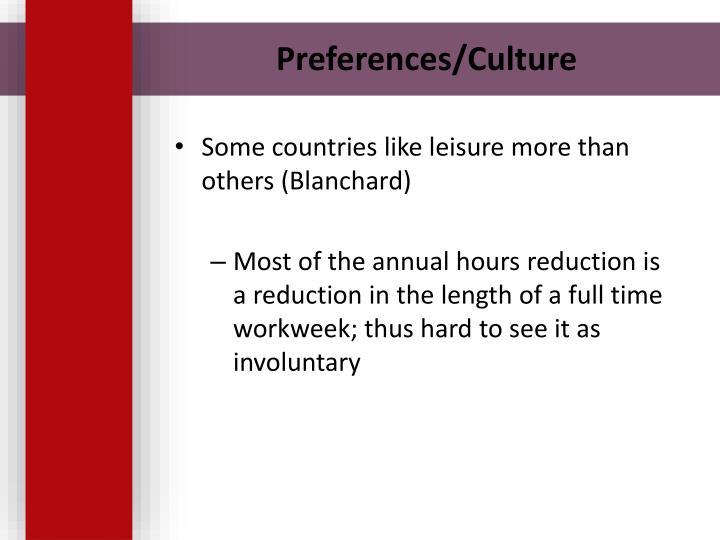 Preferences/Culture