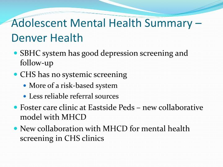 Adolescent Mental Health Summary – Denver Health
