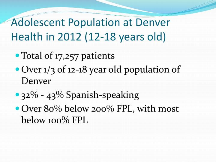 Adolescent Population at Denver Health in 2012 (12-18 years old)