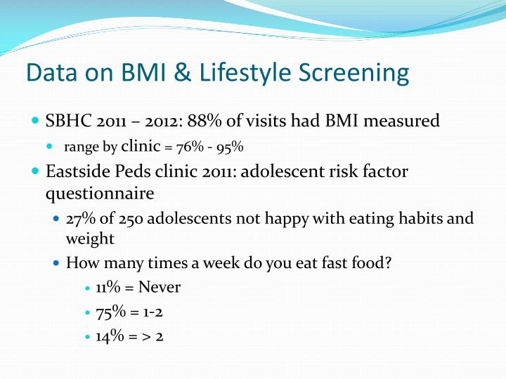 Data on BMI & Lifestyle Screening