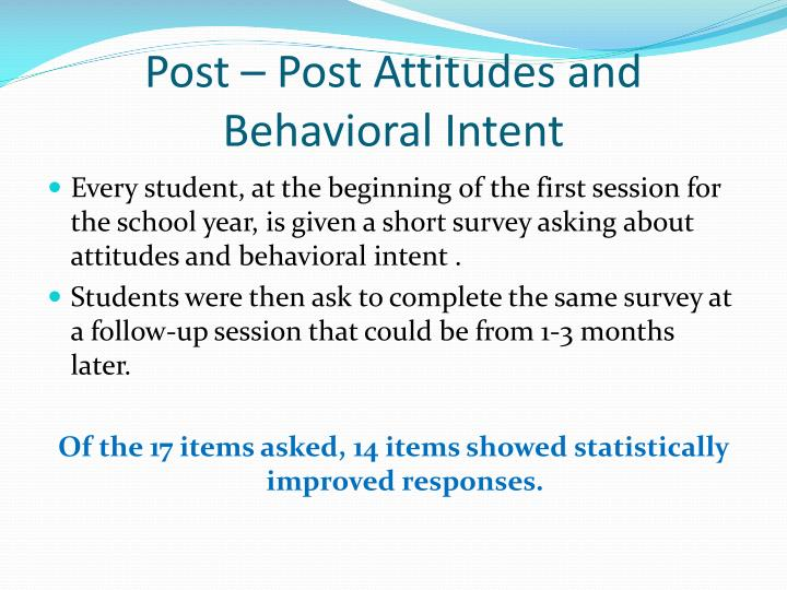 Post – Post Attitudes and Behavioral Intent