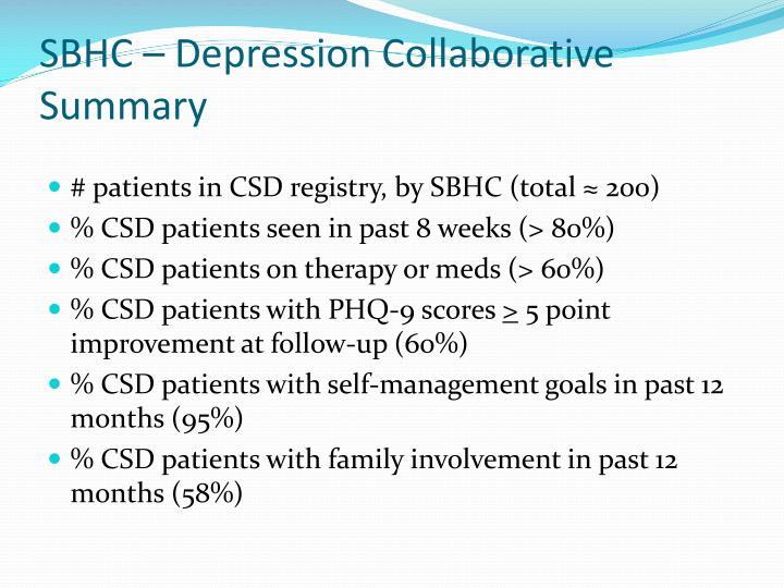 SBHC – Depression Collaborative Summary