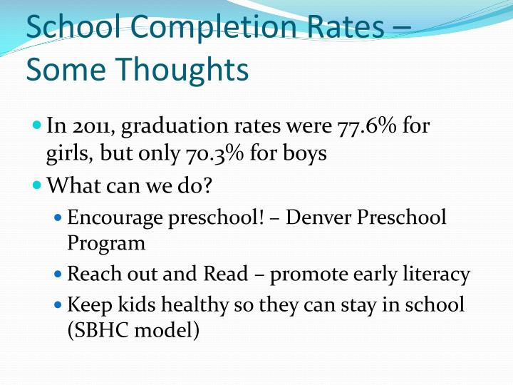 School Completion Rates – Some Thoughts