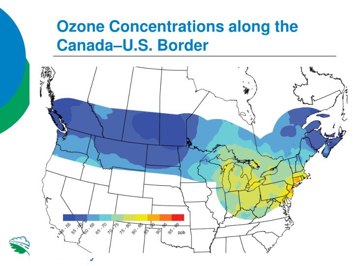 Ozone Concentrations along the Canada–U.S. Border