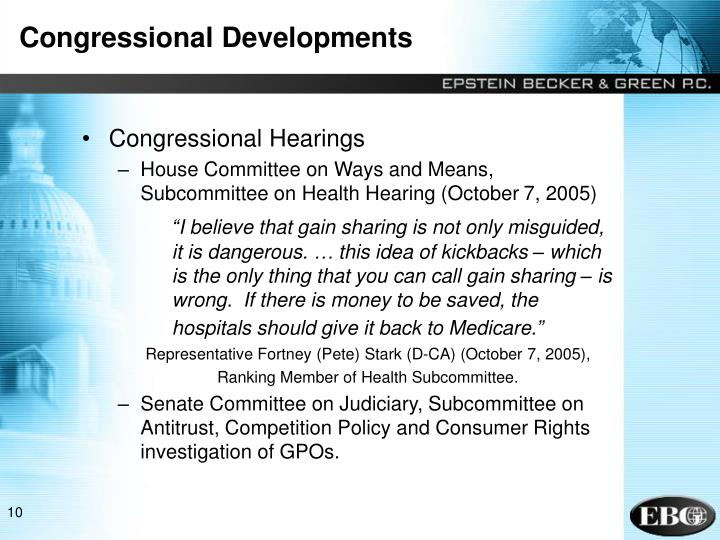 Congressional Developments