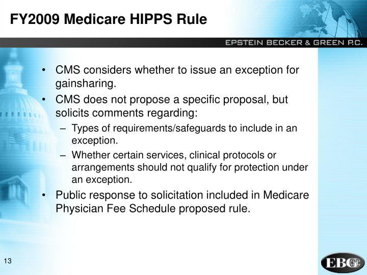 FY2009 Medicare HIPPS Rule