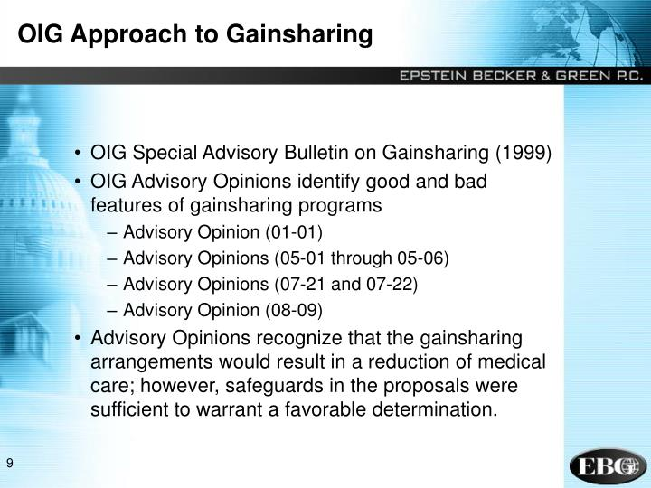 OIG Approach to Gainsharing