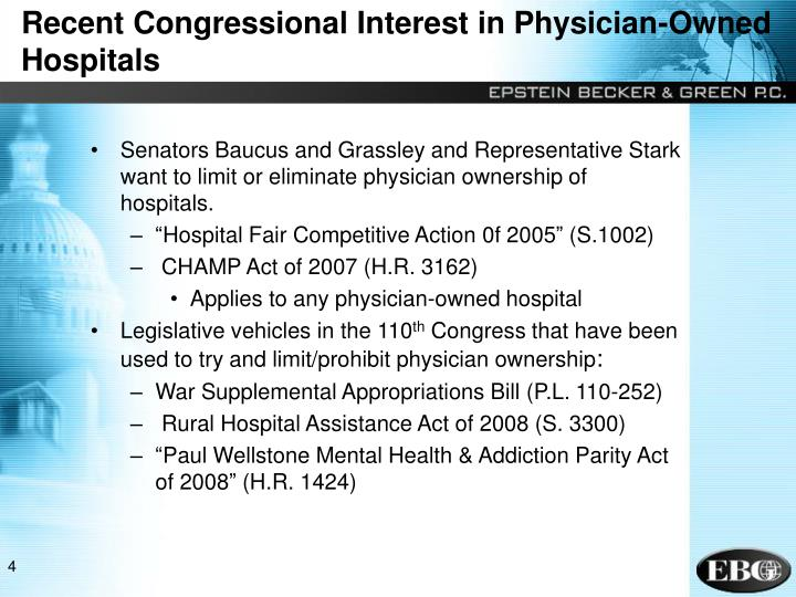 Recent Congressional Interest in Physician-Owned Hospitals
