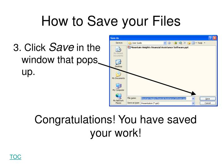How to Save your Files