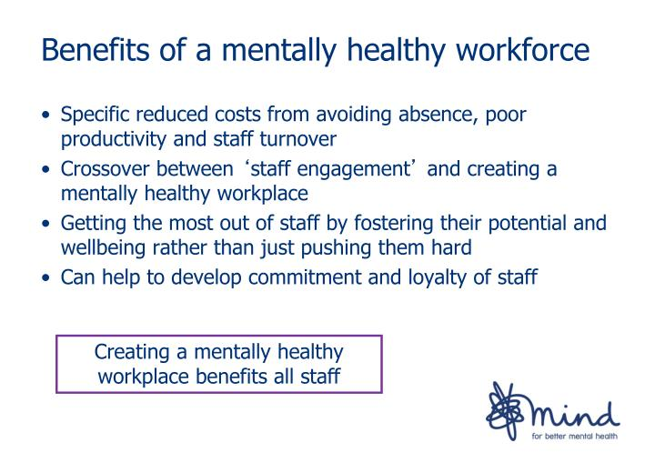 Specific reduced costs from avoiding absence, poor productivity and staff turnover