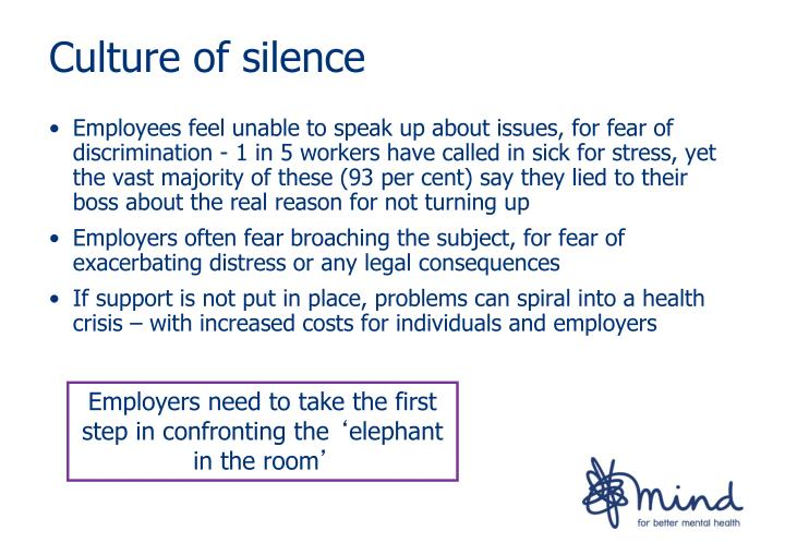 Employees feel unable to speak up about issues, for fear of discrimination - 1 in 5 workers have called in sick for stress, yet the vast majority of these (93 per cent) say they lied to their boss about the real reason for not turning up