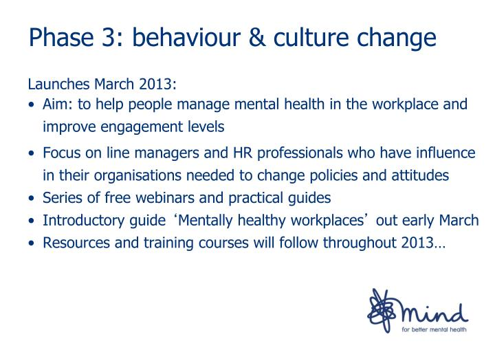 Phase 3: behaviour & culture change