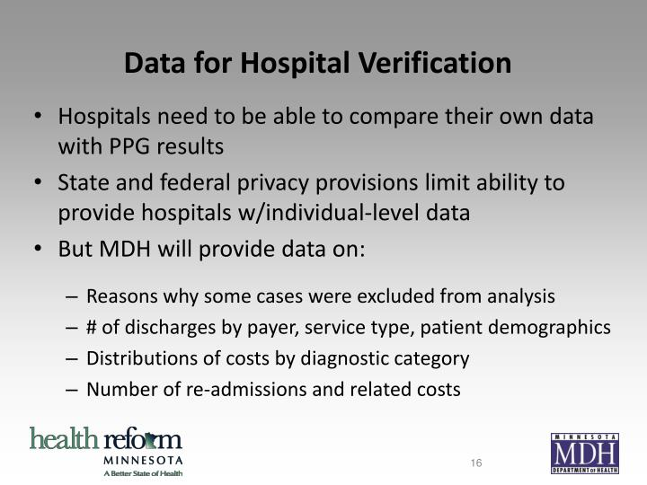 Data for Hospital Verification